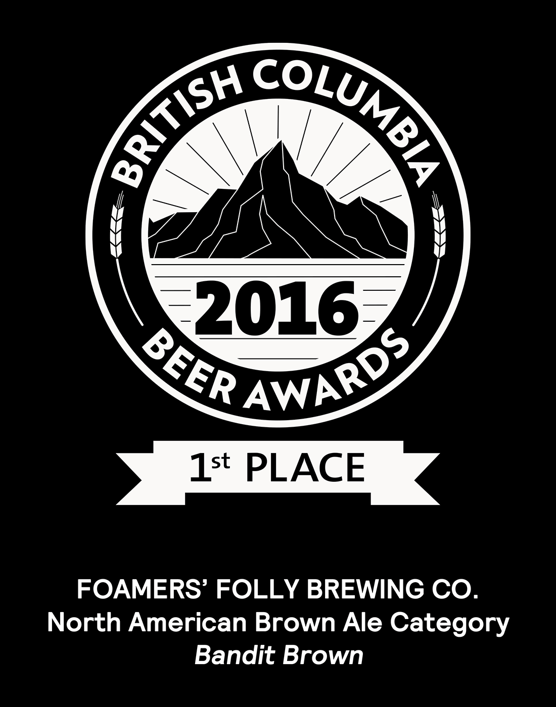 BC Beer Awards 2016, 1st Place in the North American Brown Ale Category for our Bandit Brown